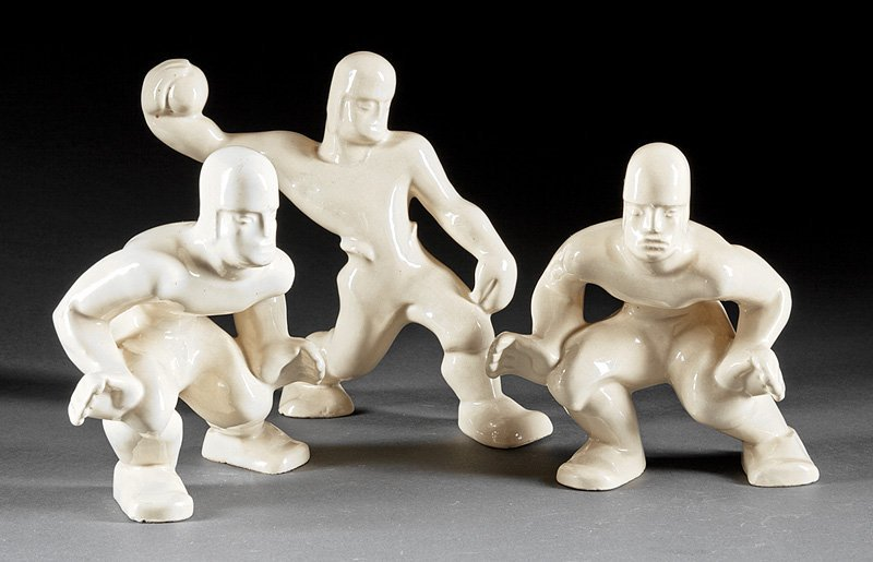 Three Shearwater Pottery Football Player Figures
