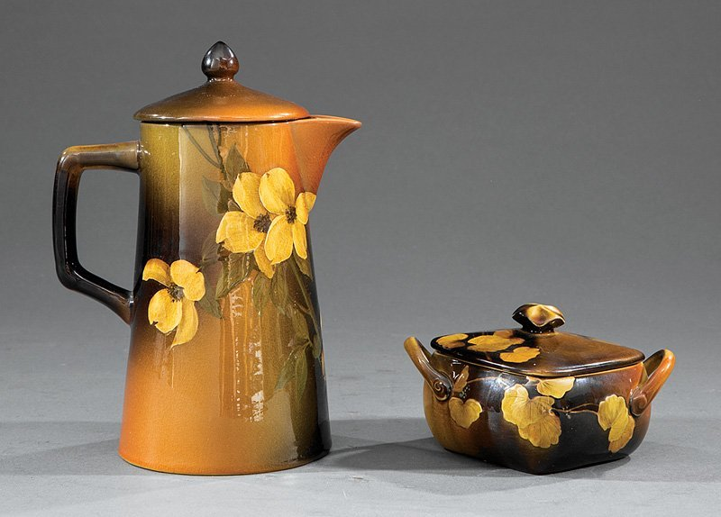 Rookwood Pottery Teapot and Sugar Bowl