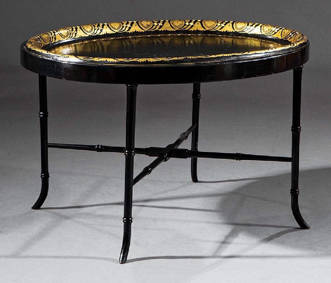 Black Lacquered and Gilt Papier-Mâché Tray