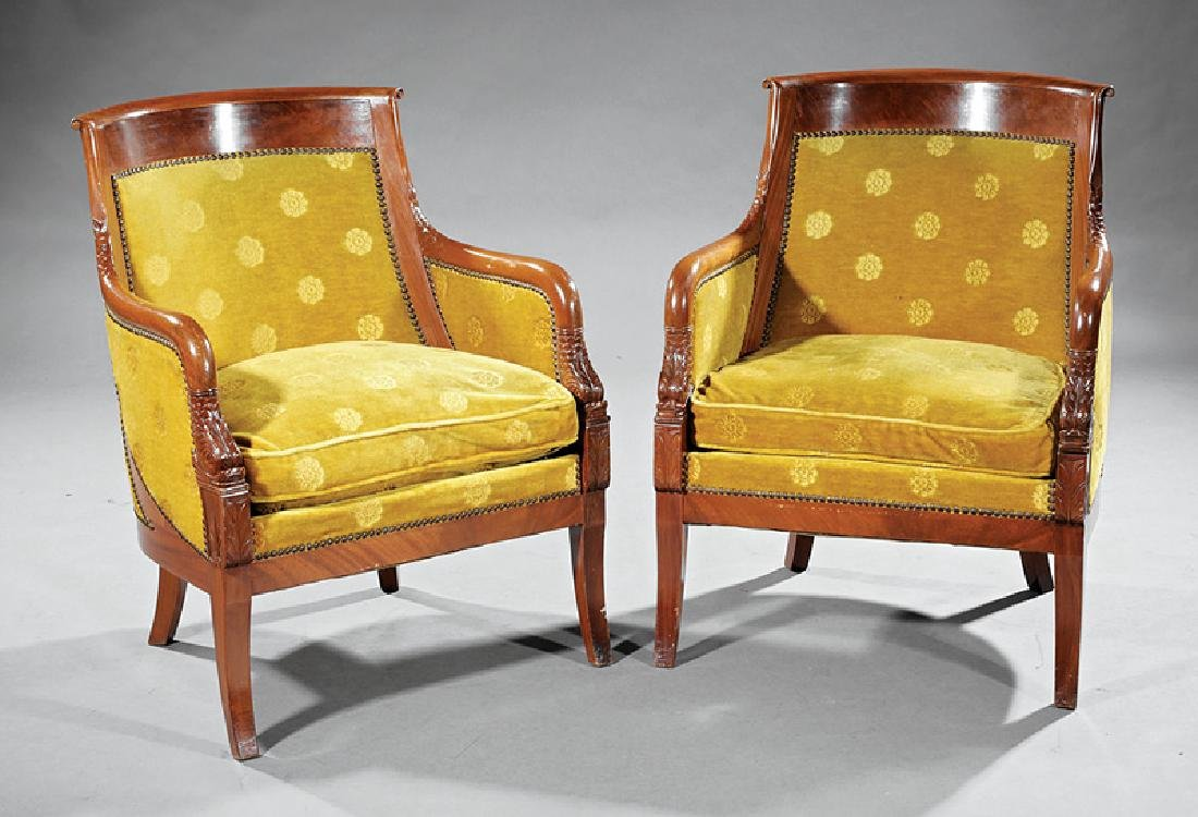 Pair of Empire-Style Carved Mahogany Bergeres