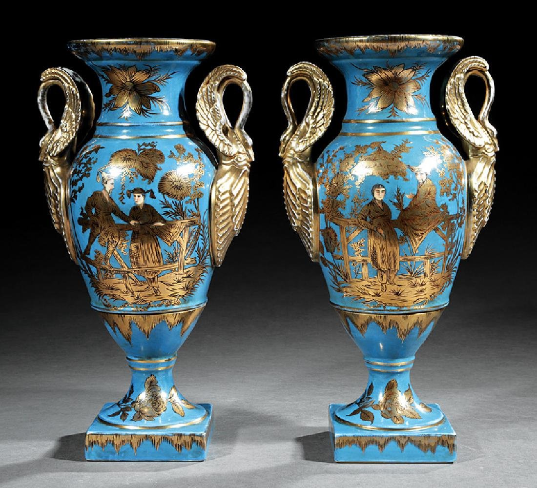 Paris Porcelain Gilt and Blue Ground Vases