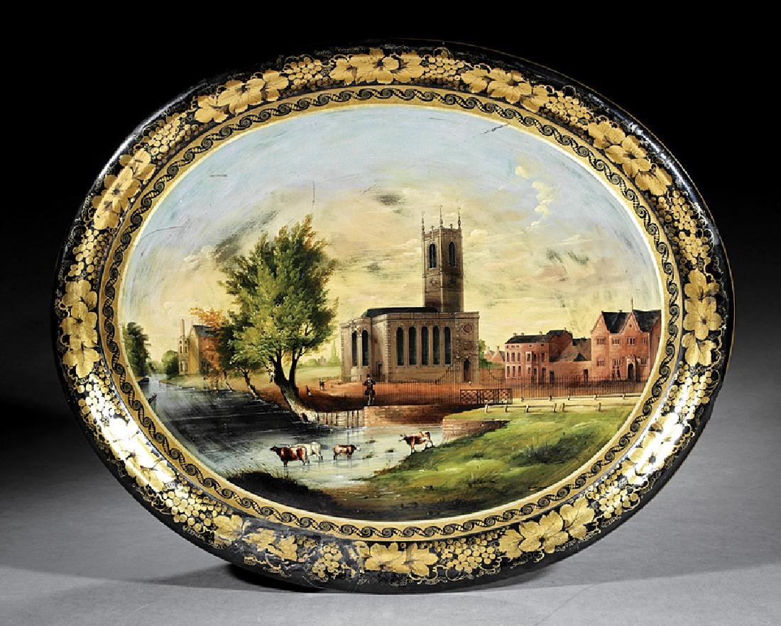 Polychromed and Gilt Decorated Papier-Mâche Tray
