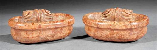 Pair of Italian Carved Marble Holy Water Fonts