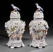 Meissen-Style Schneeballen Porcelain Covered Urns