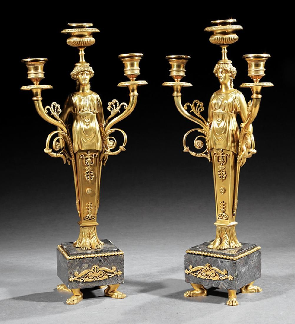 Empire-Style Gilt Bronze Figural Candelabra