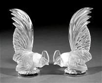 Pair of Lalique Frosted Glass Bantam Roosters