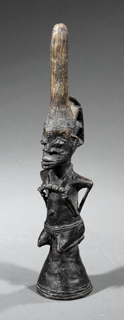 African Bronze Figural Bell