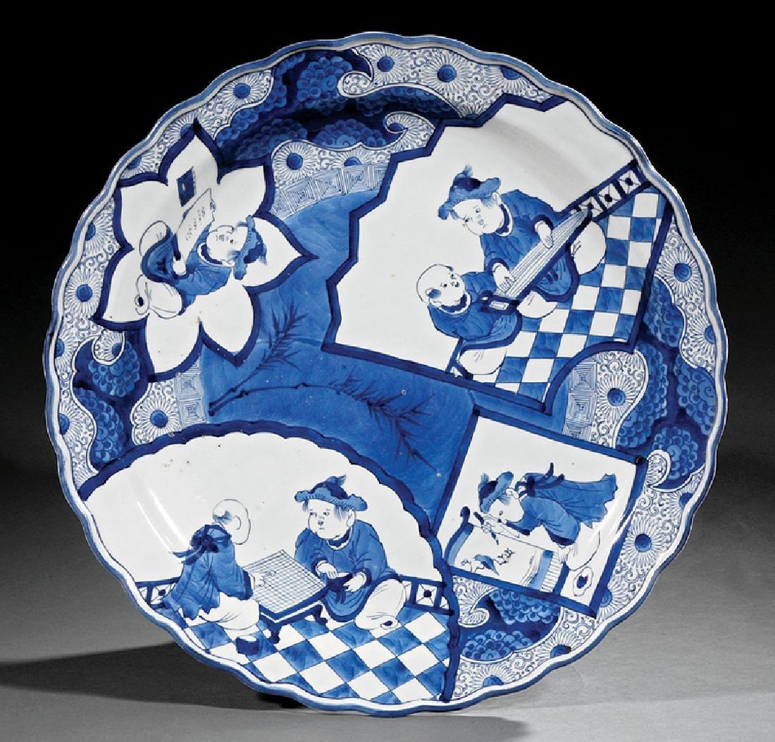 Japanese Blue & White Porcelain Foliate Rim Dish