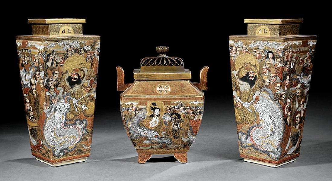 Japanese Satsuma Pottery Three Piece Garniture