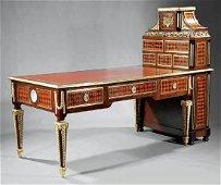 Mahogany and Kingwood Parquetry Desk & Cartonnier