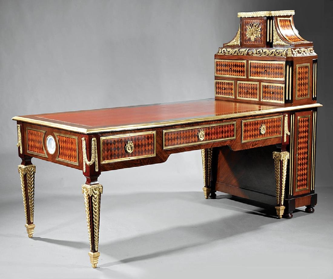 Mahogany and Kingwood Parquetry Desk & Cartonnier