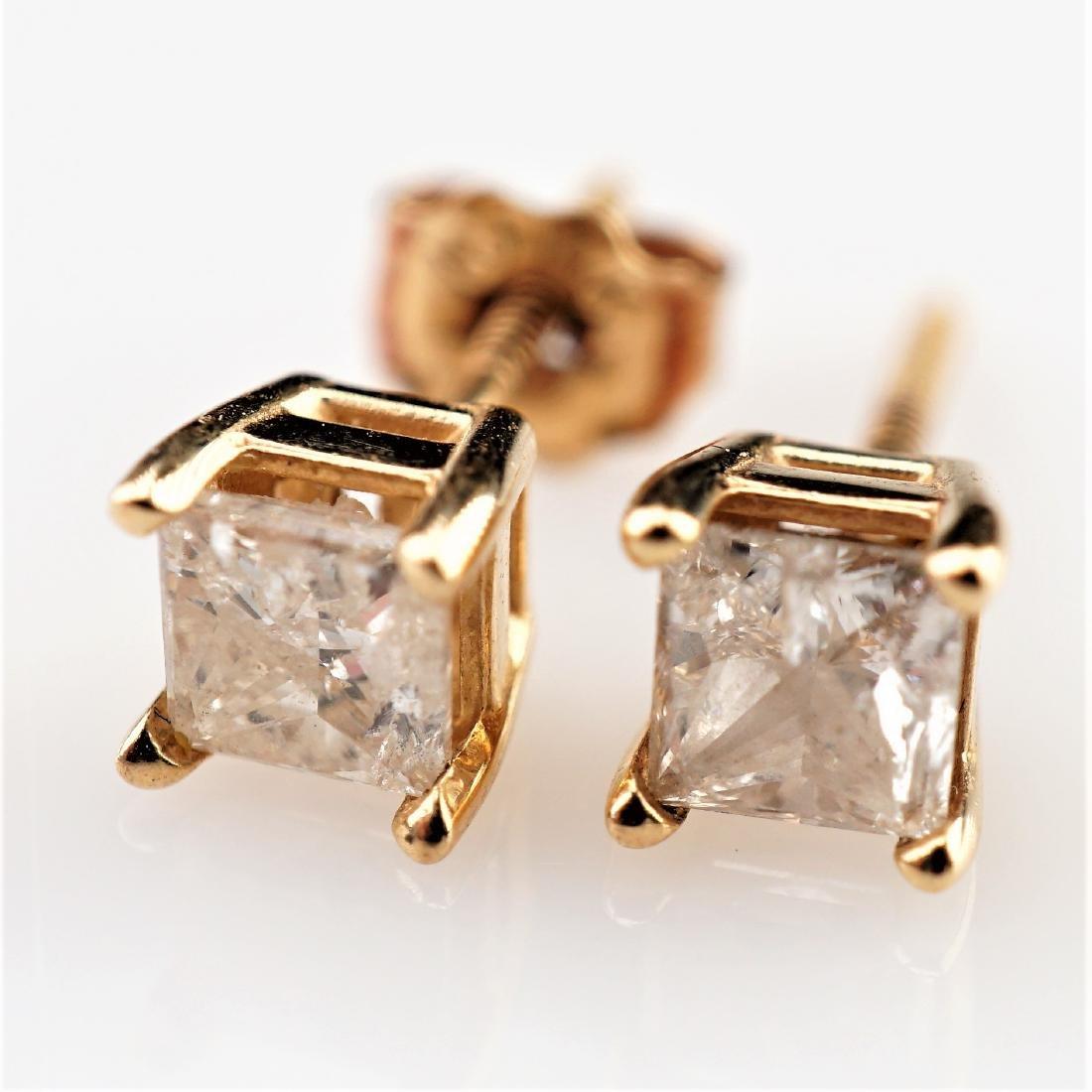 14k YG .50 CTTW White Diamond Stud Earrings