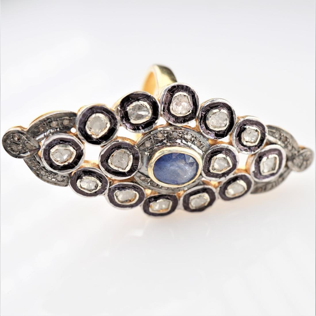 Old World Mine Cut Sapphire Ring sz 8