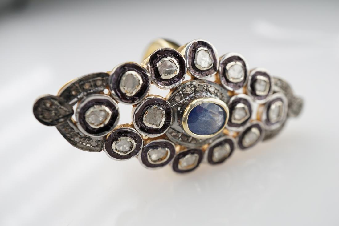 Old World Mine Cut Sapphire Ring sz 8 - 2