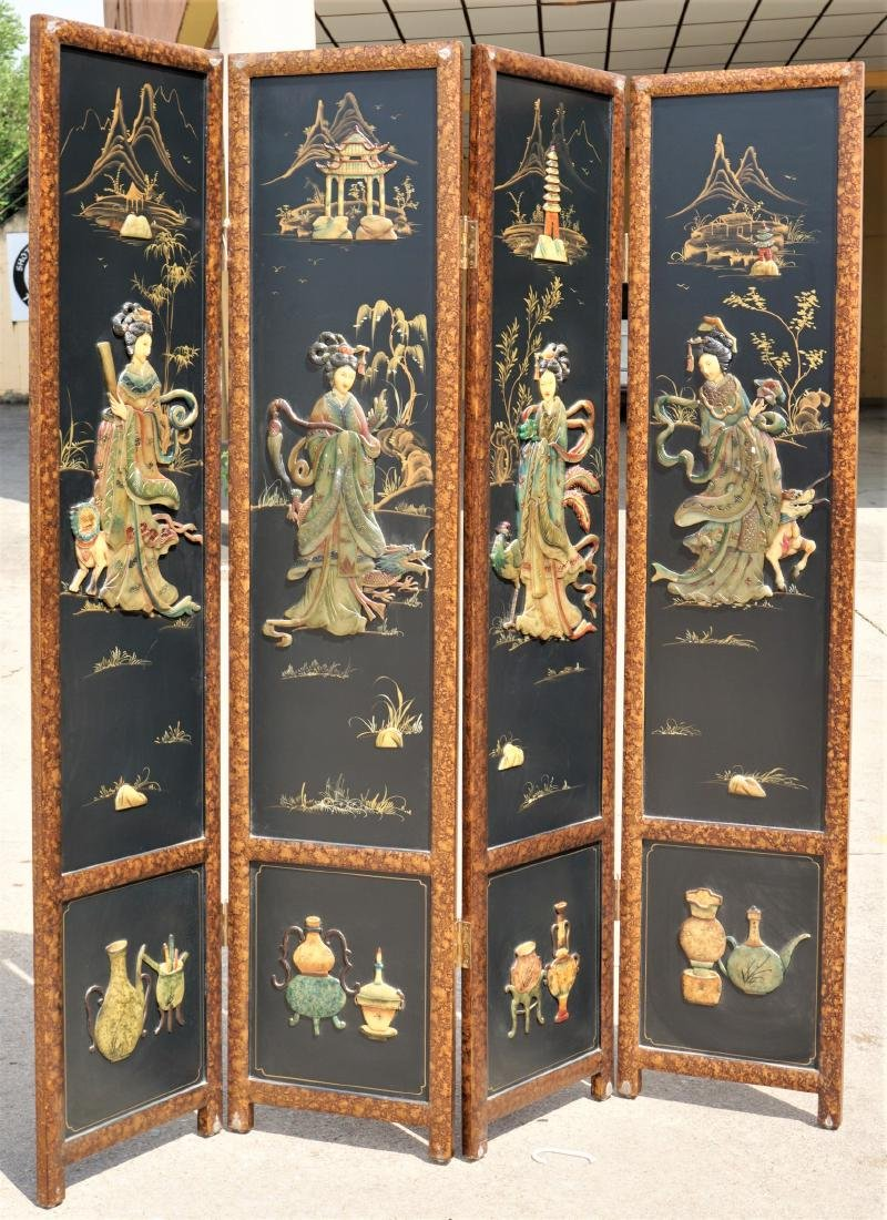 Chinese Lacquered Pietra Dura Coromandel Screen