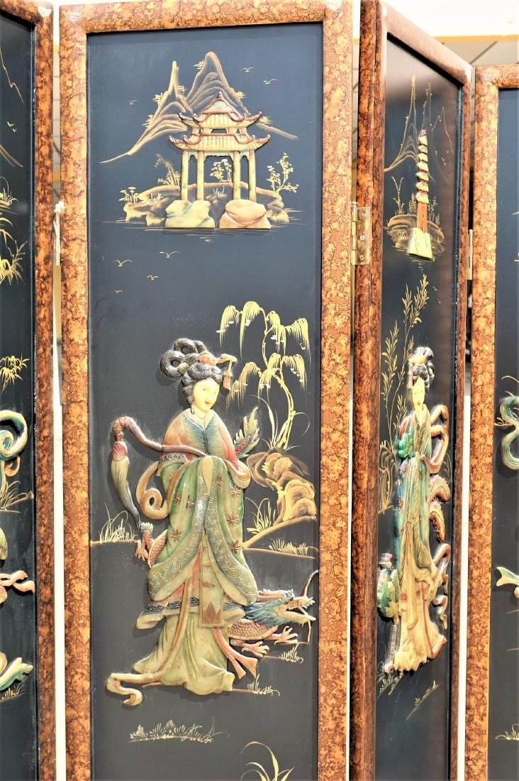 Chinese Lacquered Pietra Dura Coromandel Screen - 2
