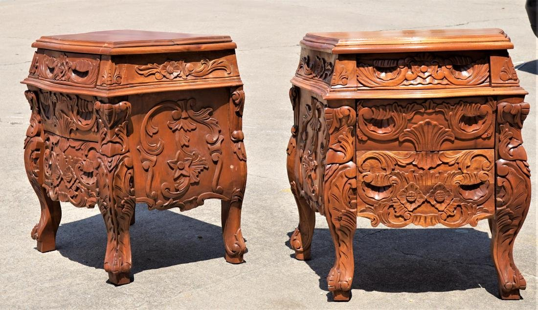Pair of Carved Wood Side Tables
