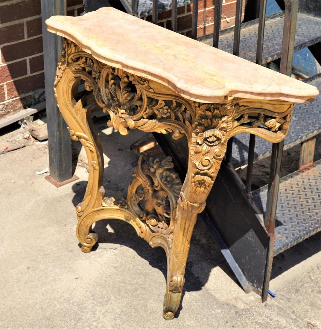 Giltwood Carved Wall Table with Marble Top