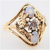 Opal and White Diamond Ring sz 55