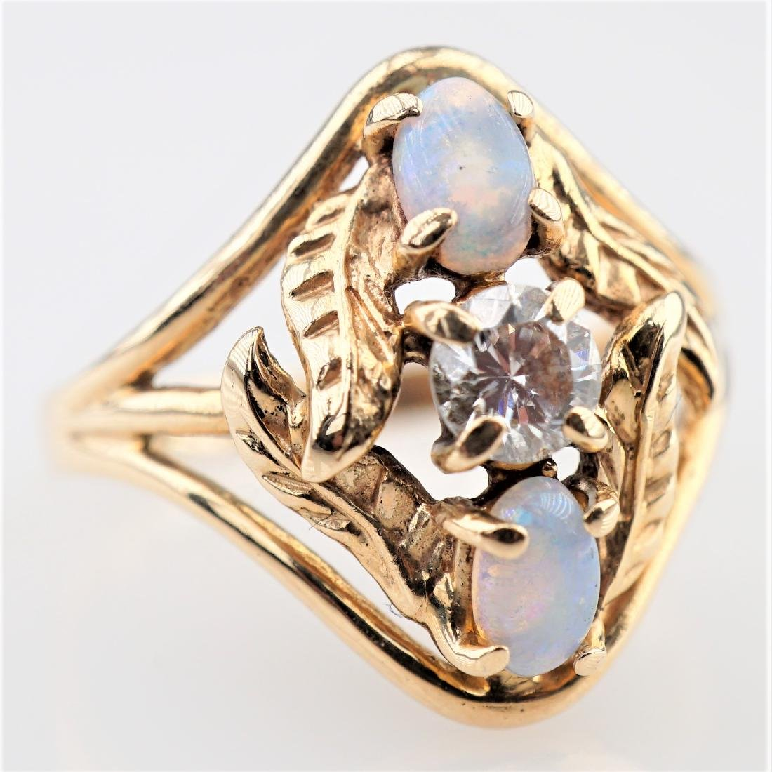 Opal and White Diamond Ring sz 5.5