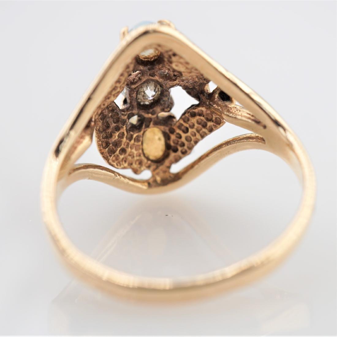 Opal and White Diamond Ring sz 5.5 - 3