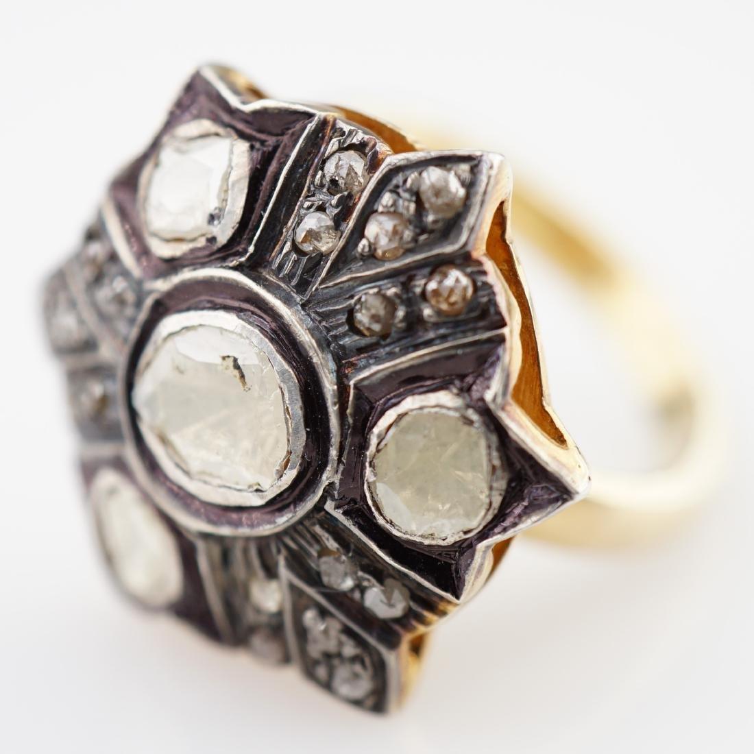Old World Mine Cut Diamond and Sapphire Ring sz 7.75