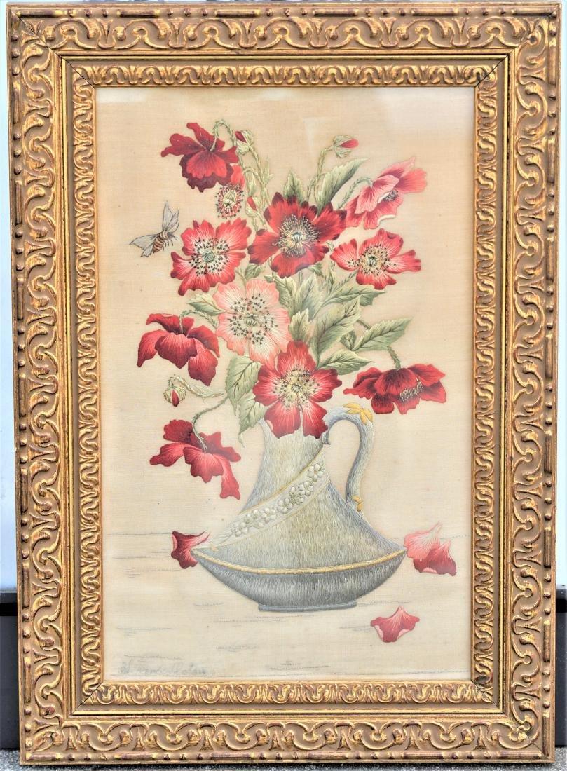 Embroidered Floral Framed Silk  Art