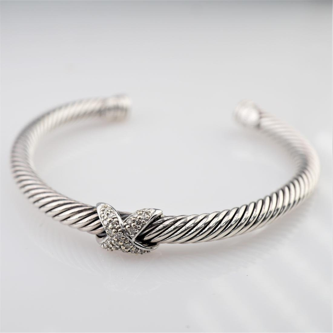 David Yurman Sterling &18k WG Diamond Bracelet