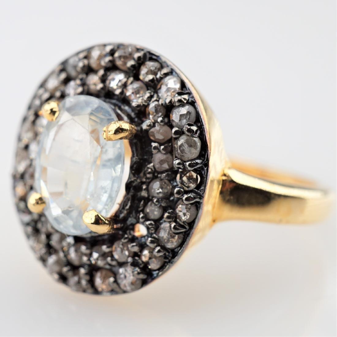 1.87 CT Sapphire Ring .85 CTTW Diamonds sz 6.75