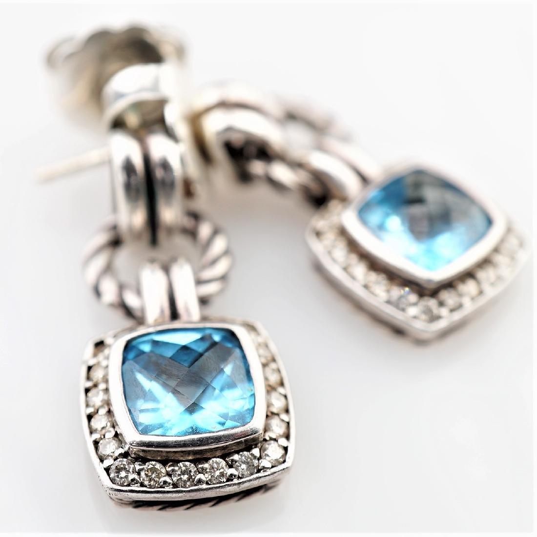 David Yurman Aquamarine Dangle Earrings w/ Diamonds
