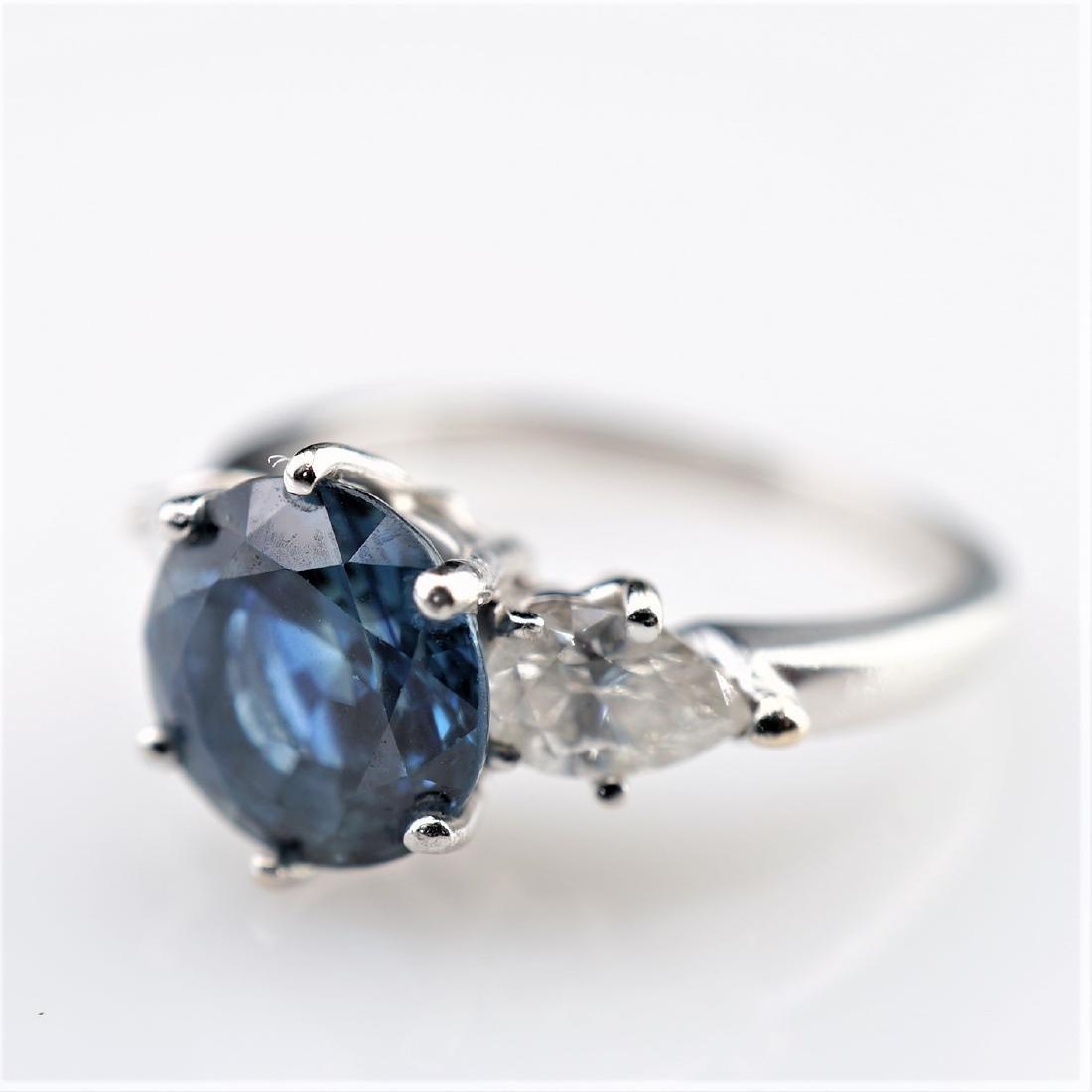 2 CT Cornflower Blue Ring with 1.50 CTTW of Diamonds sz