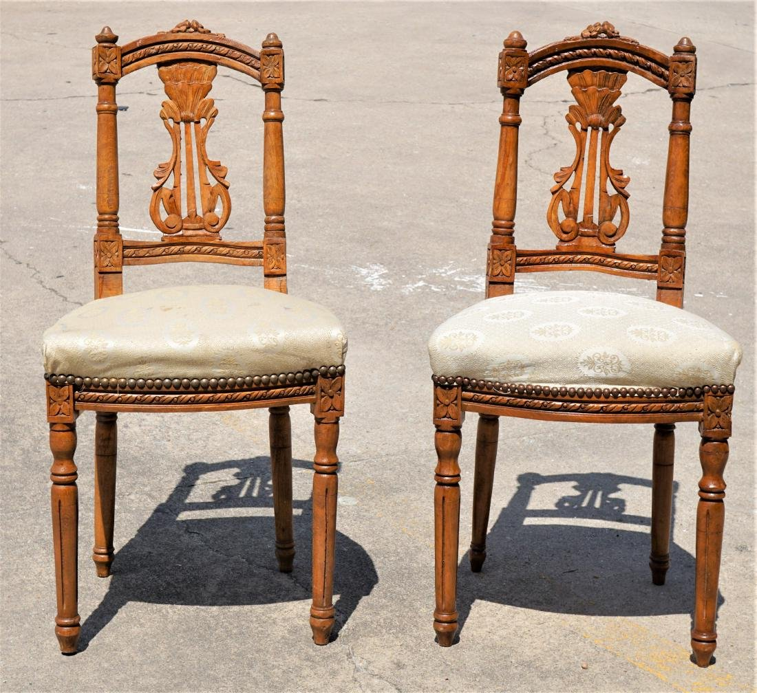 Pair of Miniature Carved Wood Oak Chairs