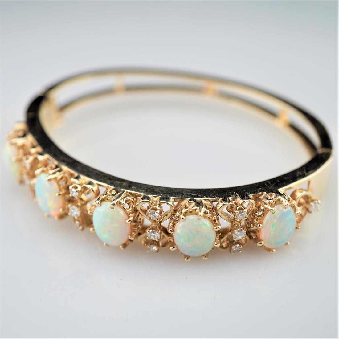 Fire Opal 14k YG Bracelet with Diamonds