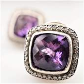 David Yurman Amethyst Earrings with White Diamonds 18k