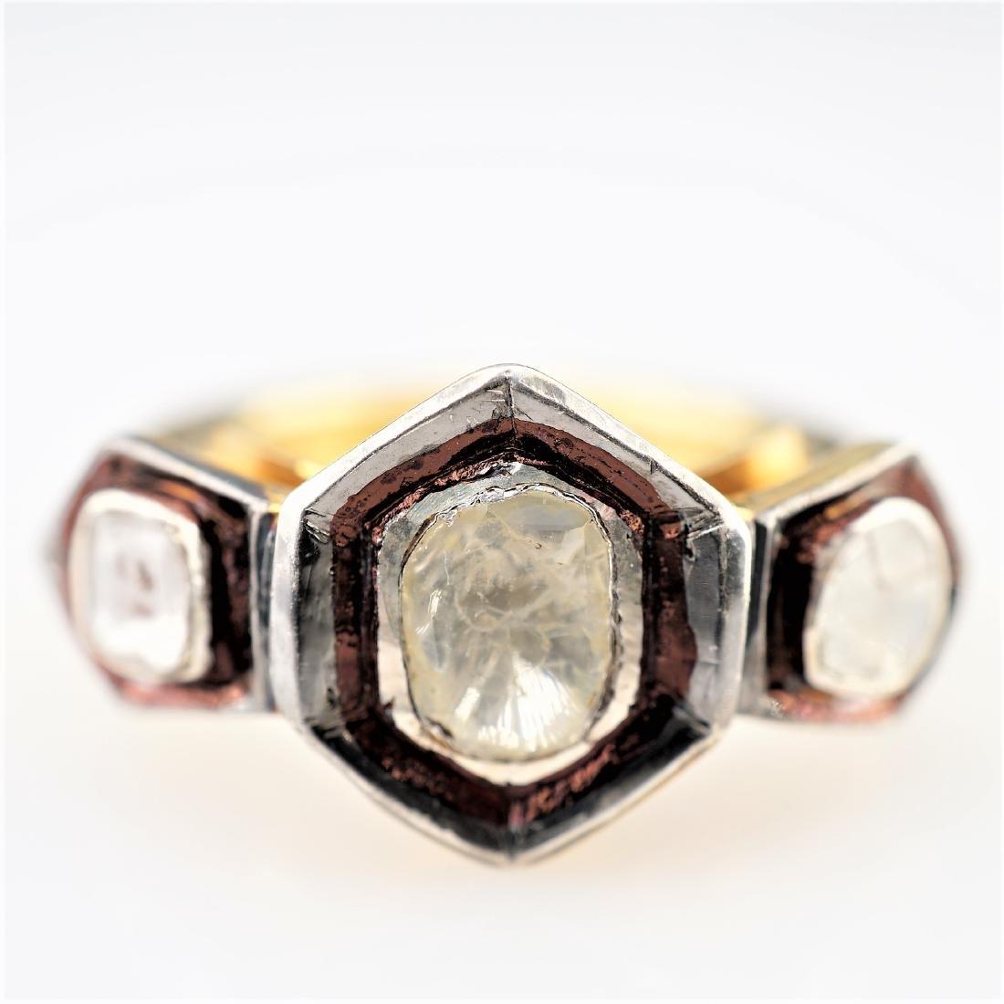 2.10 CTTW Rose Cut Diamond Ring in 925 sz 8