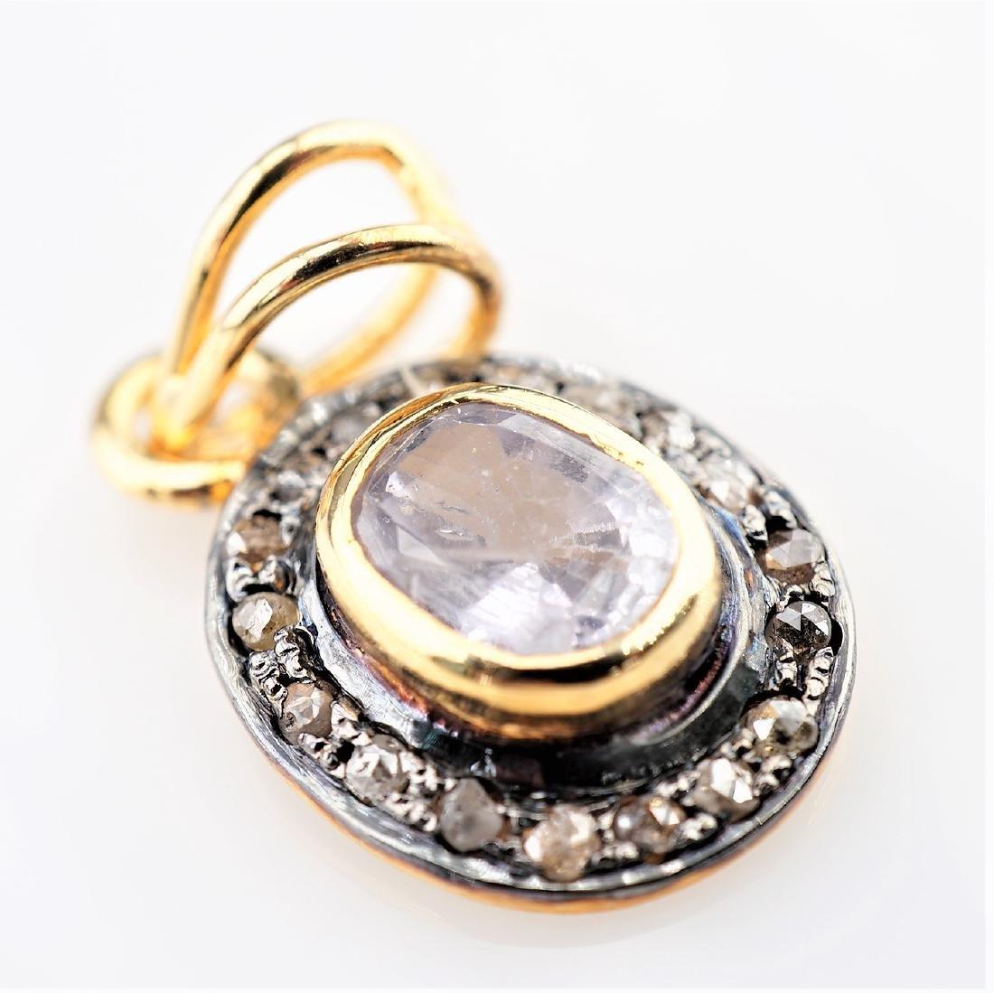 Blue sapphire pendant with Rose Cut Diamonds