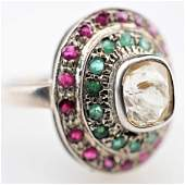 1.35 CT Yellow Sapphire RIng with Rubies and Emeralds