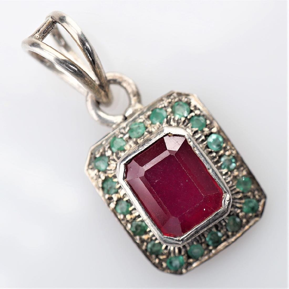 2.75 CT Ruby Pendant with Emeralds
