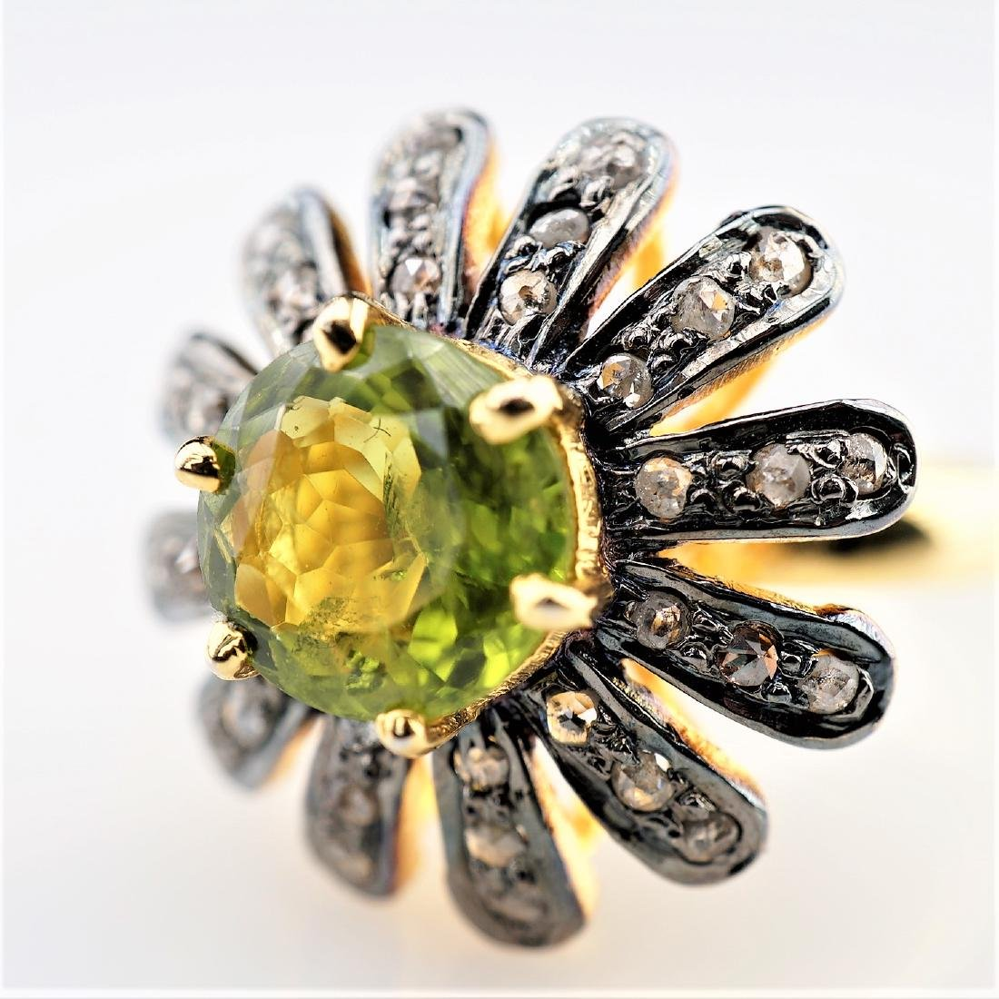 3.5CT Peridot Floral Ring