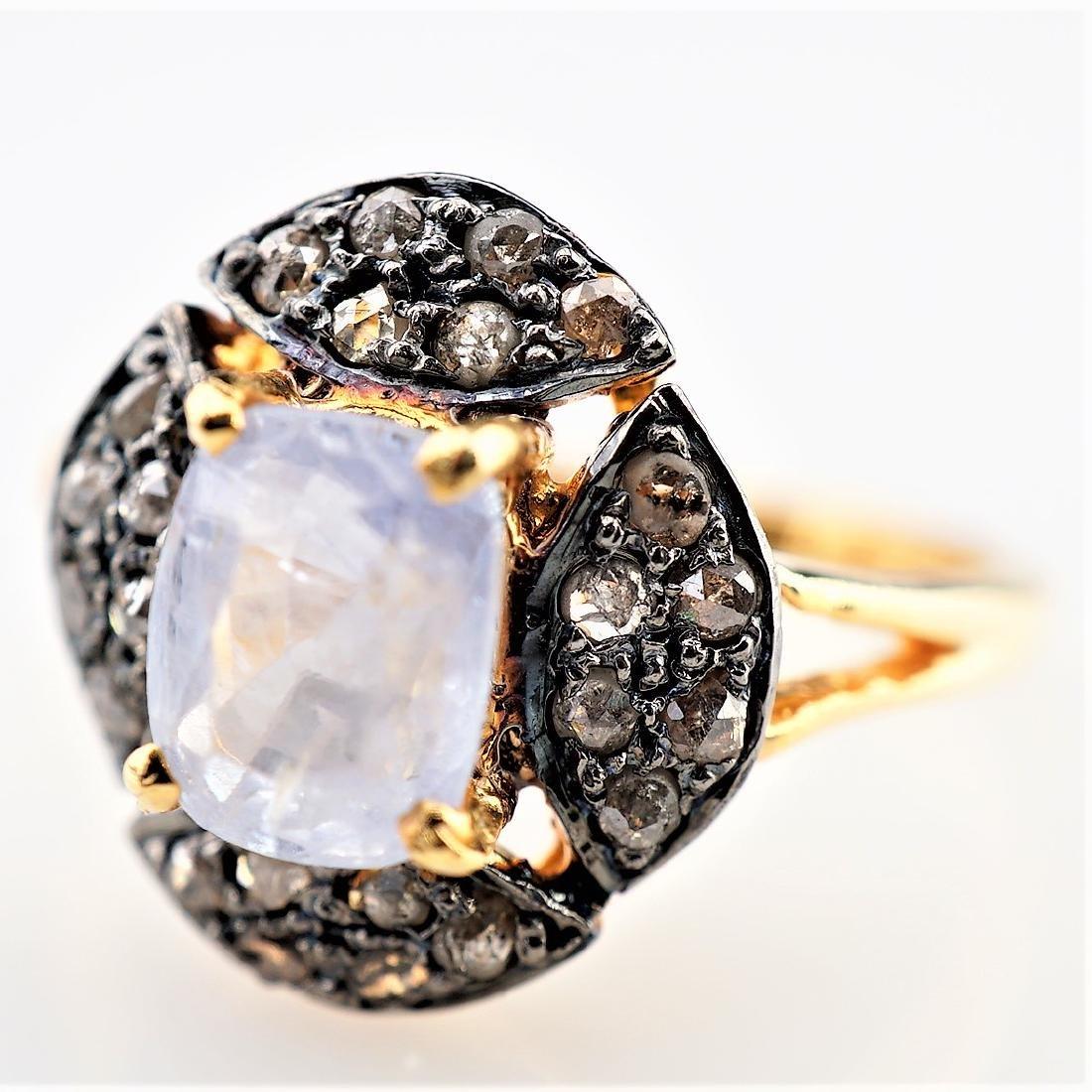1.95 CT Sapphire Ring with Diamonds sz 6.75