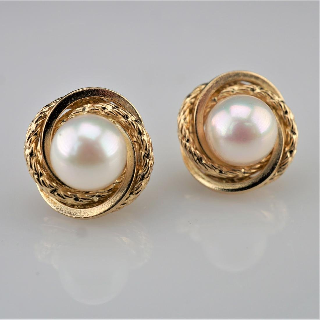 14k YG Pearl Stud Earrings