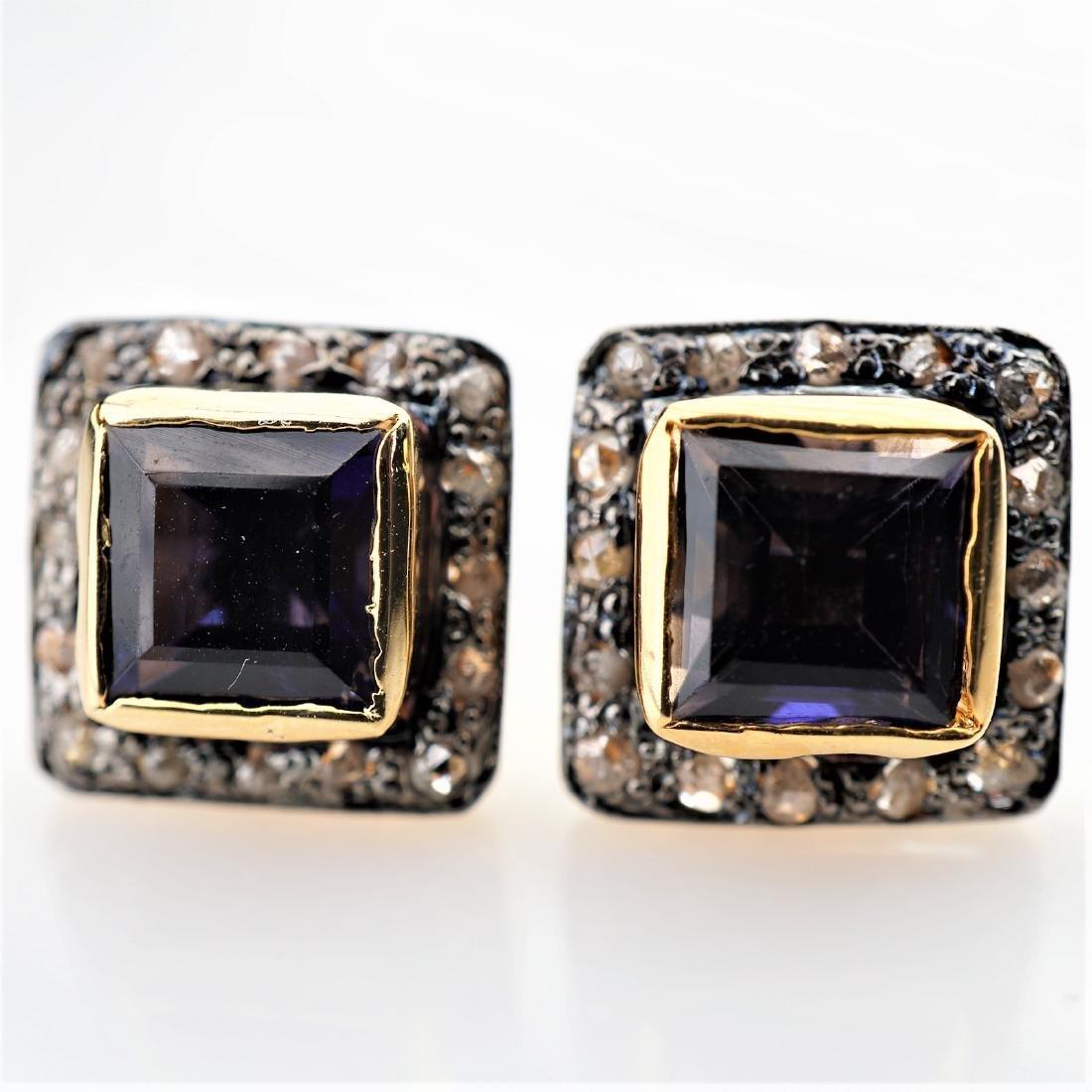 2.50 CTTW Iolite Earrings with Diamonds