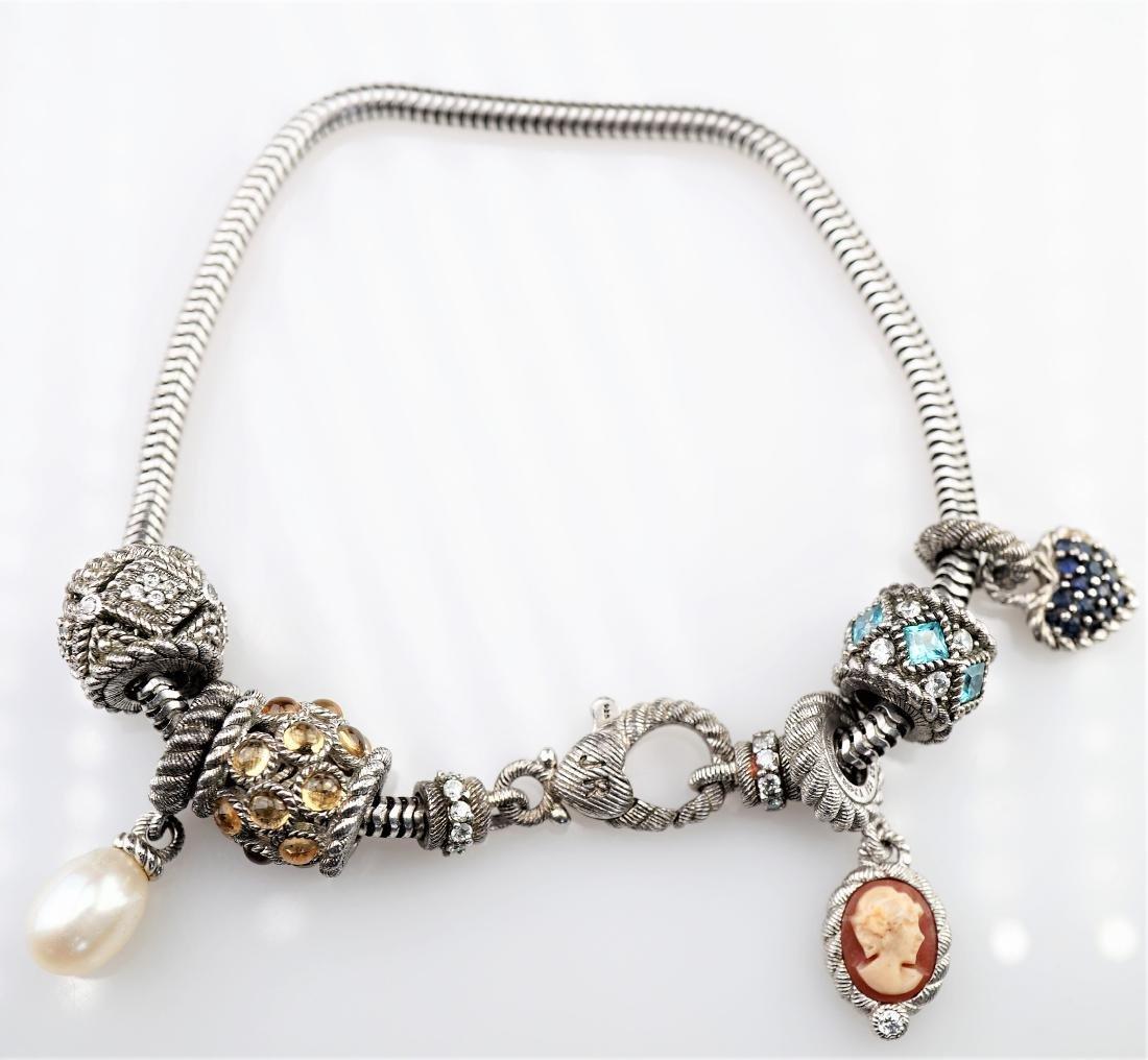 Judith Ripka Sterling Silver Charm Bracelet