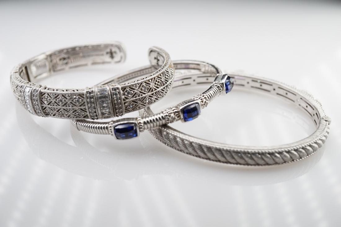 3 Judith Ripka Silver Bracelets
