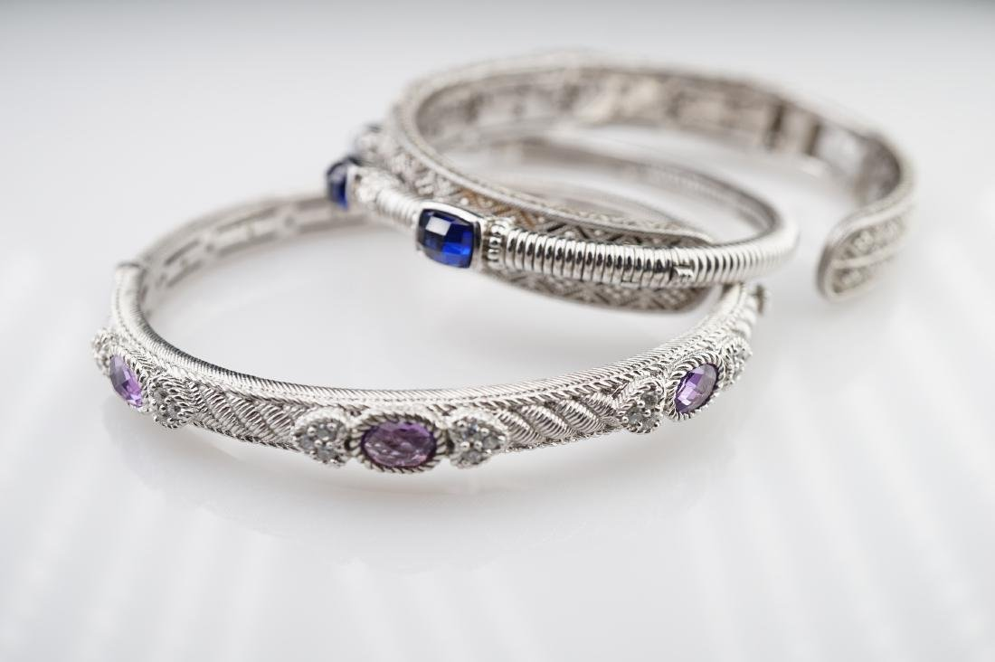 3 Judith Ripka Silver Bracelets - 4