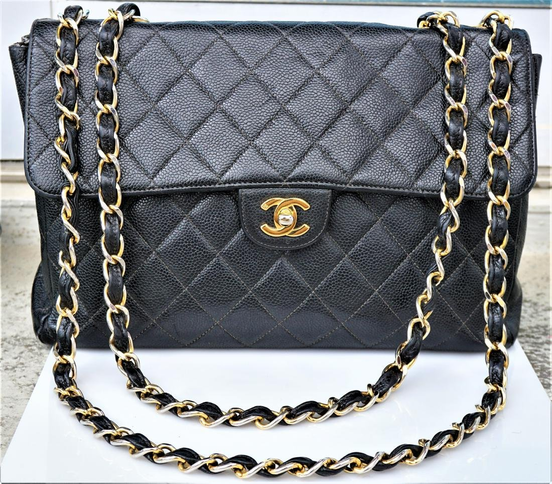 Black Leather Chanel Classic Flap Bag