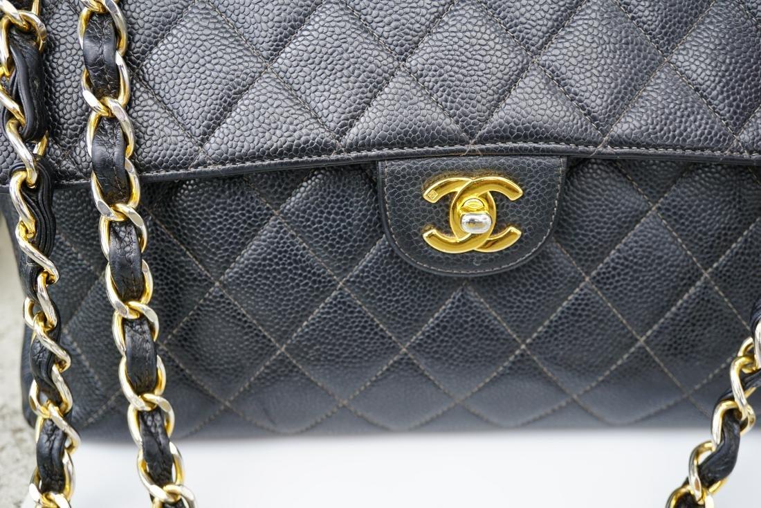 Black Leather Chanel Classic Flap Bag - 2
