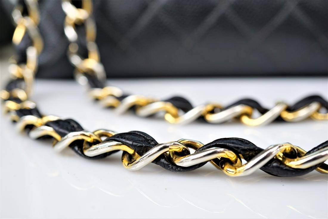 Black Leather Chanel Classic Flap Bag - 3