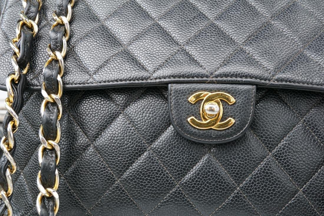 Black Leather Chanel Classic Flap Bag - 4