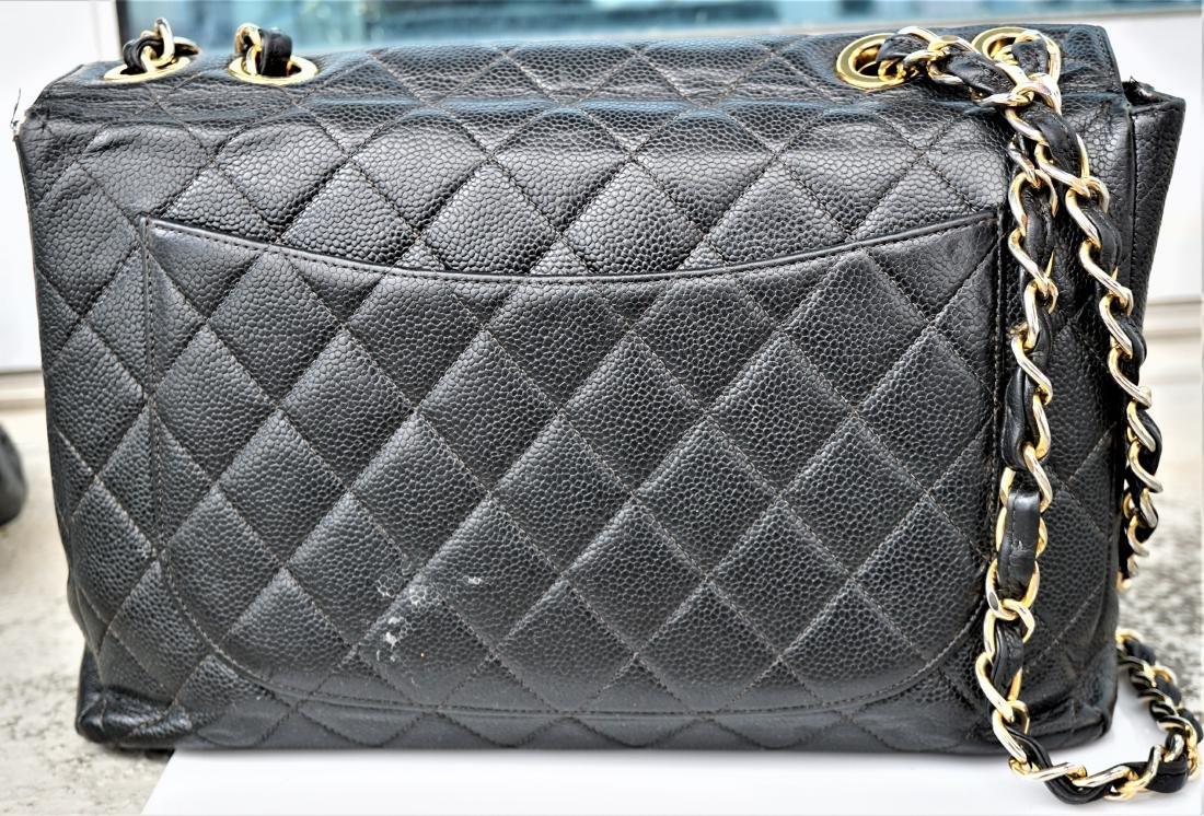 Black Leather Chanel Classic Flap Bag - 5